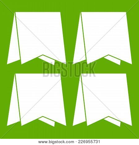 Pennants Icon White Isolated On Green Background. Vector Illustration