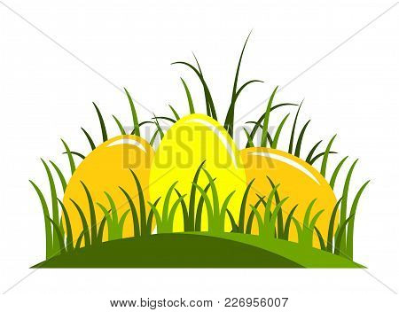 Vector Easter Eggs In Grass Isolated On White Background