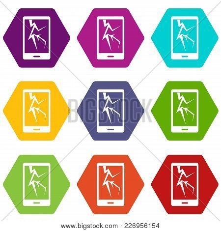Cracked Phone Icon Set Many Color Hexahedron Isolated On White Vector Illustration