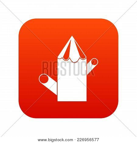 Wooden Stump Icon Digital Red For Any Design Isolated On White Vector Illustration