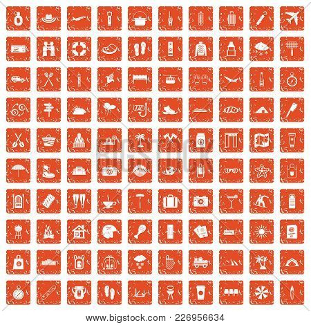 100 Vacation Icons Set In Grunge Style Orange Color Isolated On White Background Vector Illustration
