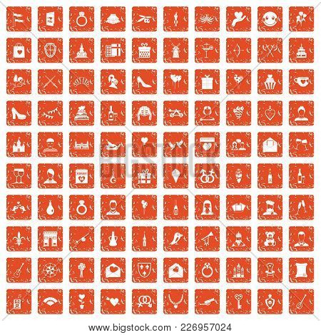 100 Valentine Day Icons Set In Grunge Style Orange Color Isolated On White Background Vector Illustr