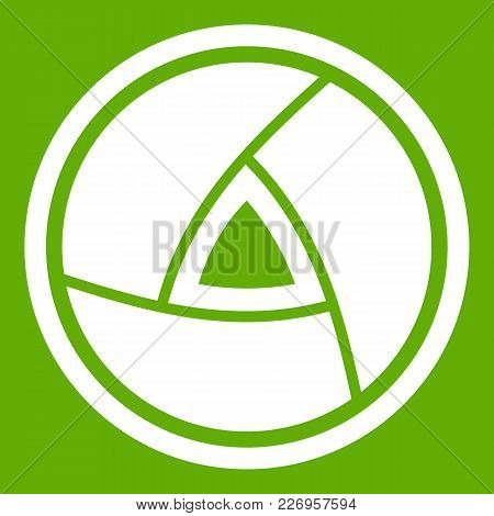 Objective Icon White Isolated On Green Background. Vector Illustration