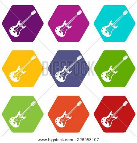 Classical Electric Guitar Icon Set Many Color Hexahedron Isolated On White Vector Illustration