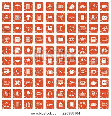 100 Book Icons Set In Grunge Style Orange Color Isolated On White Background Vector Illustration