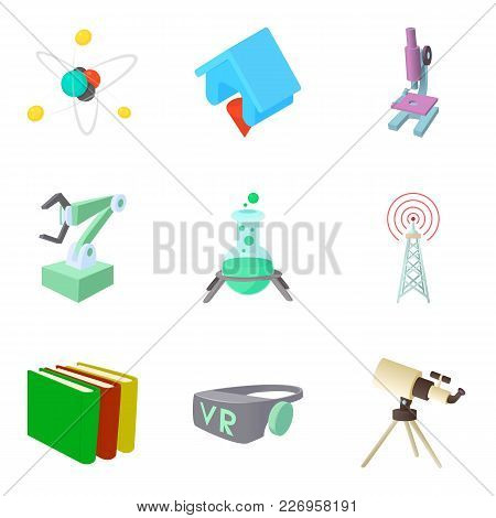Scientific Research Project Icons Set. Cartoon Set Of 9 Scientific Research Project Vector Icons For