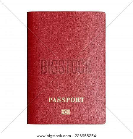 Red Passport Isolated Paths On A White Background