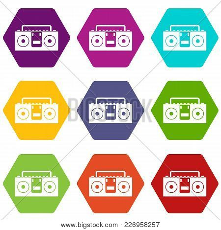 Vintage Tape Recorder For Audio Cassettes Icon Set Many Color Hexahedron Isolated On White Vector Il