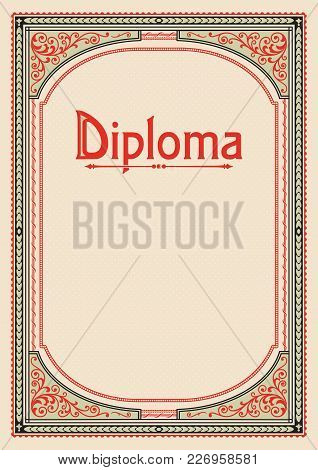 Ornate Rectangular Framework. A4 Proportions. Lettering Diploma. Book Cover Decoration, Icon Case, T