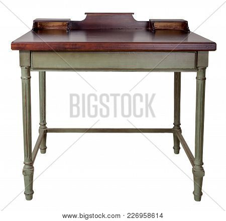 Vintage Furniture - Retro Wooden Desk Table With Two Built-in Trays, Dark Brown Top And Light Green