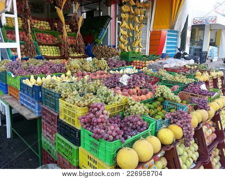 Colorful Fruit Stand On Street In Tunisia