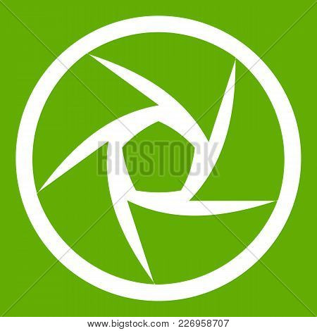 Video Objective Icon White Isolated On Green Background. Vector Illustration