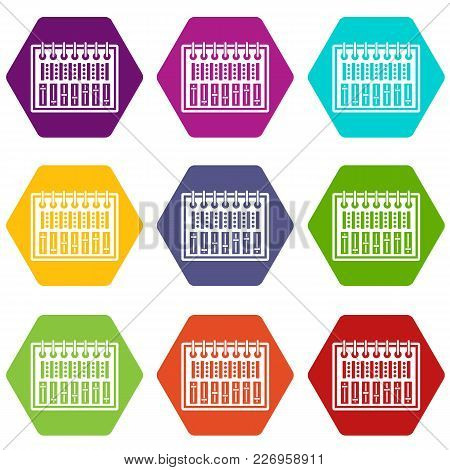 Music Equalizer Console Icon Set Many Color Hexahedron Isolated On White Vector Illustration