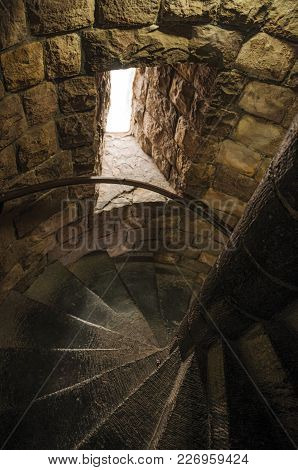 Stone Stairs Inside Tower Of The Gravensteen Castle At Ghent. In Addition To Intense Cultural Life,