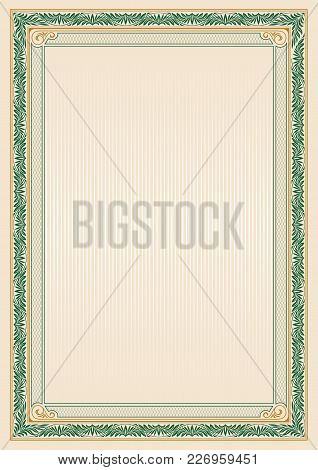 Ornate Rectangular Framework. Template For Certificate, Diploma, Announcement, Label. A4 Proportions