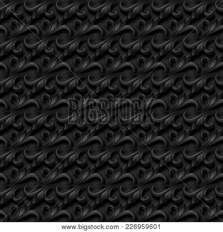 Elegant Black Floral Seamless Pattern With Shadow And Three-d Effect. For Invitation Cards, Decor An