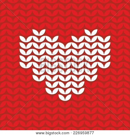 Tile Knitting Vector Pattern With White Hearts On Red Background