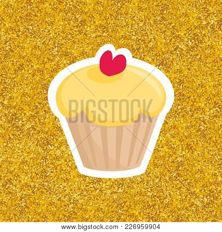 Sweet Vector Cupcake With Red Heart On Gold Background