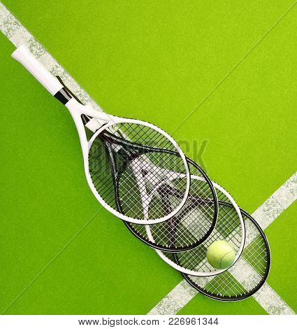 Tennis Rackets With Ball On Hard Surface Court. Square. Tennis Backgrounds. Top View. 3d Illustratio