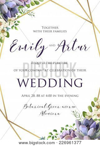 Wedding Floral Invitation, Invite, Save The Date Template. Vector Elegant Botanical Card Design With
