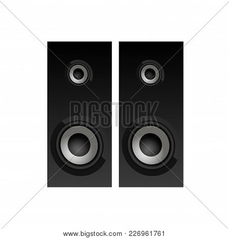 Realistic Black Loudspeakers Top View. Speakers Icon. Vector.
