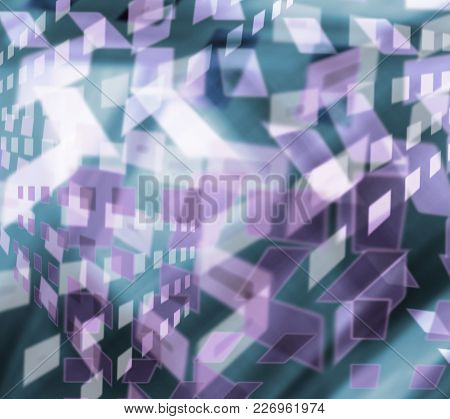 Multicolored Repeating Geometric Pattern In Bright Blue Color For Design