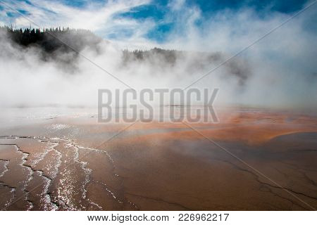 The Stunning Colors Of Grand Prismatic Spring In Yellowstone National Park.