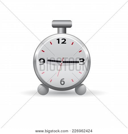Clock Iconthe Alarm Clock Icon On A White Background. Vector Illustration.