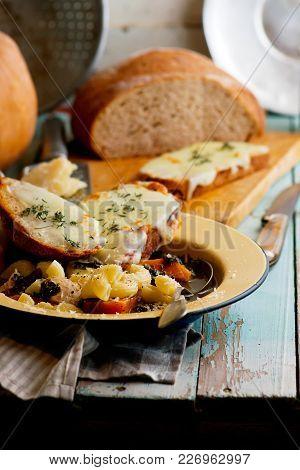 Italian Pumpkin Kale Chicken Noodle Soup Fontina Toast..style Rustic.selective Focus