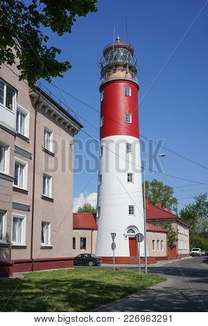 Baltiysk, Russia - May 12, 2016: The Attraction Of The Small Seaside Town Is An Old Lighthouse Of Re