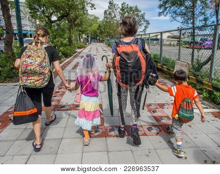 Hualien, Taiwan - October 16, 2016: Family Going On The Trip
