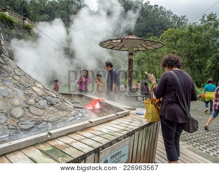Taiping Mountain, Taiwan - October 15, 2016: Eggs And Vegetables Being Cooked  In  The Water Of Hot
