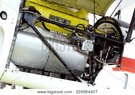 Mende, France - June 25, 2016: Detail Of An Engine Of An Old Biplane Stampe On The Mende Airfield In