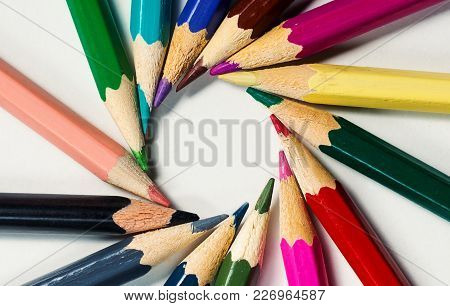 Lot Of Color Pencils On A White Background