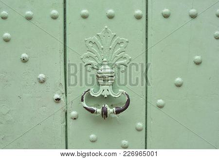 Mint Handle Door Rusty Iron Ring In Wood Doorway