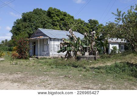 Old Wooden House In Rural Areas In Cuba.