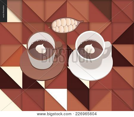 Love Spring Chocolate - Papercut Geometric Pattern And Two Cups Of Coffee And Chocolate, And Cacao B