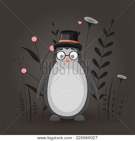 Gift Postcard With Cartoon Animal Penguin In The Cylinder And Glasses. Decorative Floral Background