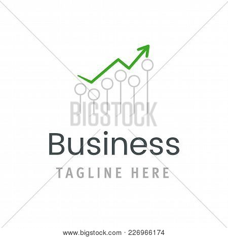 Business Green Arrow Chart Growth Icon. Market Statistic Report Logo Template. Creative Vector Illus