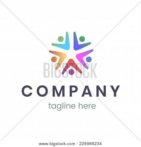 Company Logo Design Template. Trendy Sign For Business And Branding. Vector Illustration Of People,
