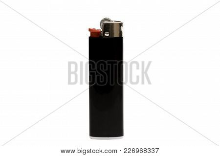 Black Lighter Isolated On White Background, With Clipping Path. Design Element.
