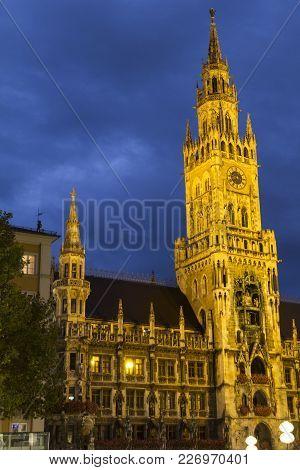 Night Shot Of Marienplatz And Munich City Hall, Neues Rathaus, In Munich, Germany