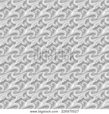 Floral Seamless Pattern With Shadow And Three-d Effect. For Invitation Cards, Decor And Decorating W