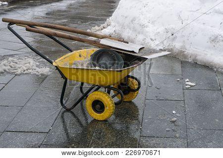 Snow Cleaning Tools - Wheelbarrow, Bucket And Shovel. Working Utility, Municipal Community Service