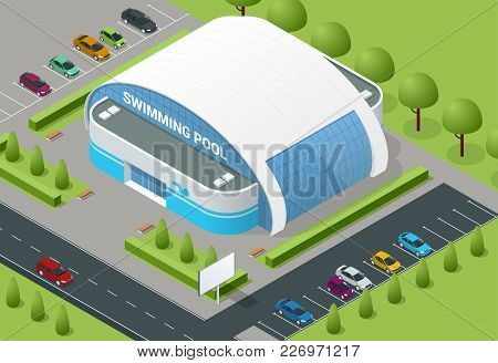 Isometric Illustration Of Modern Building Swimming Pool For Water Sports, Swimming, Diving, Underwat