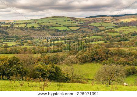 Landscape Near Cynghordy In Carmarthenshire, Dyfed, Wales, Uk - With The Cynghordy Railway Viaduct I