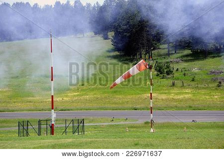 Windsock On An Aerodrome To Indicate To Planes Taking Off The Wind Direction