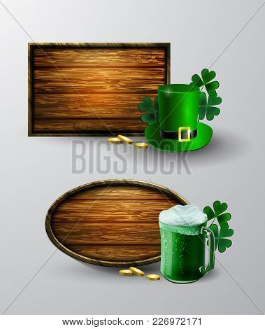 Empty Wooden Board Set For Happy St. Patrick S Day Celebration.
