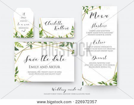 Wedding Floral Save The Date, Menu, Place Card & Label Template Set. Vector Modern, Botanical Card D