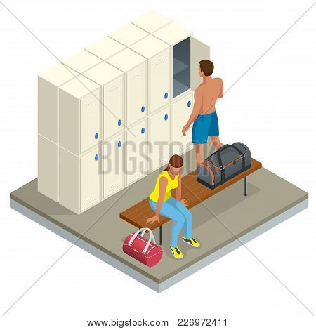 Isometric Interior Of A Locker And Changing Room. Vector Changing Locker Room With Shower Enclosures
